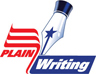Plain Language Icon, consisting of the tip of a fountain pen with a blue star on it, and the words Plain Language appearing as a U.S. flag image